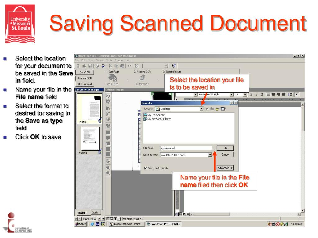 Saving Scanned Document