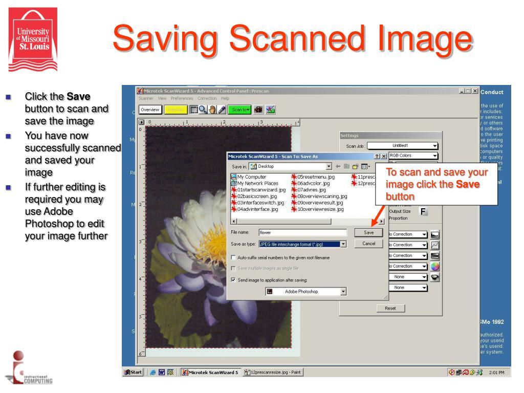 Saving Scanned Image