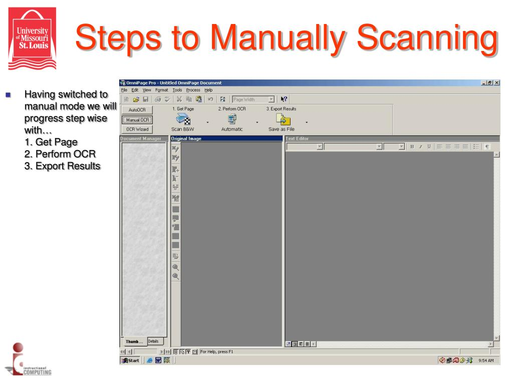 Steps to Manually Scanning