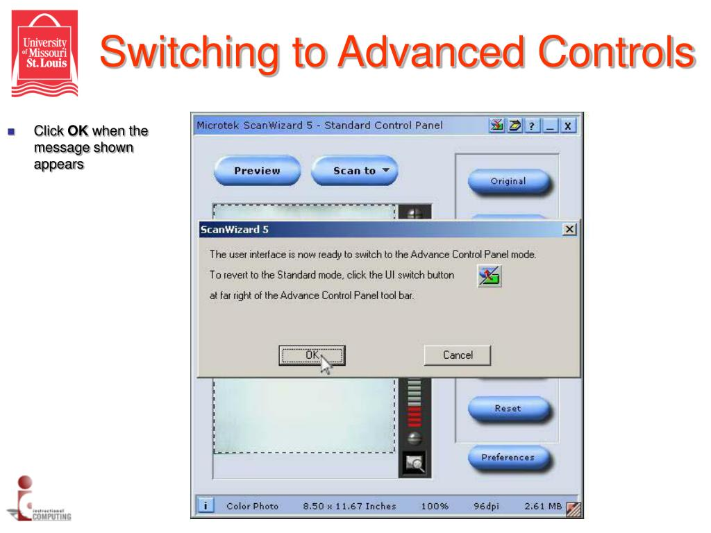 Switching to Advanced Controls