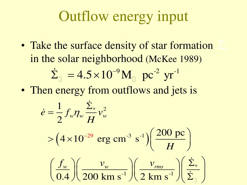 Outflow energy input