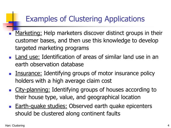 Examples of clustering applications