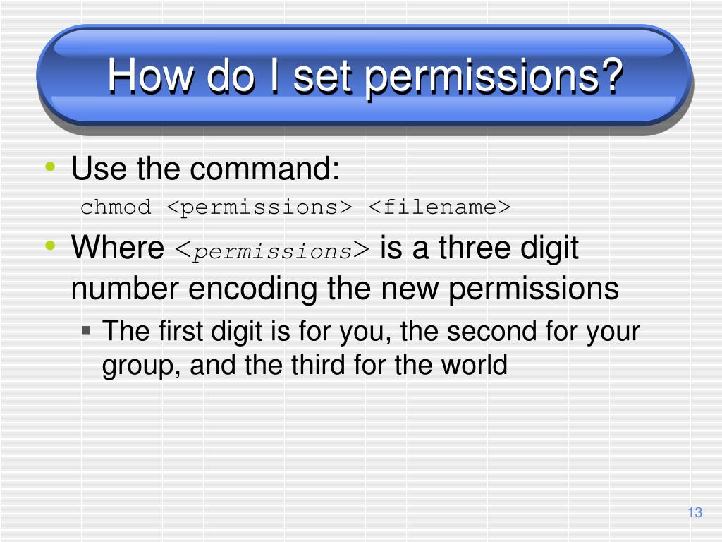 How do I set permissions?