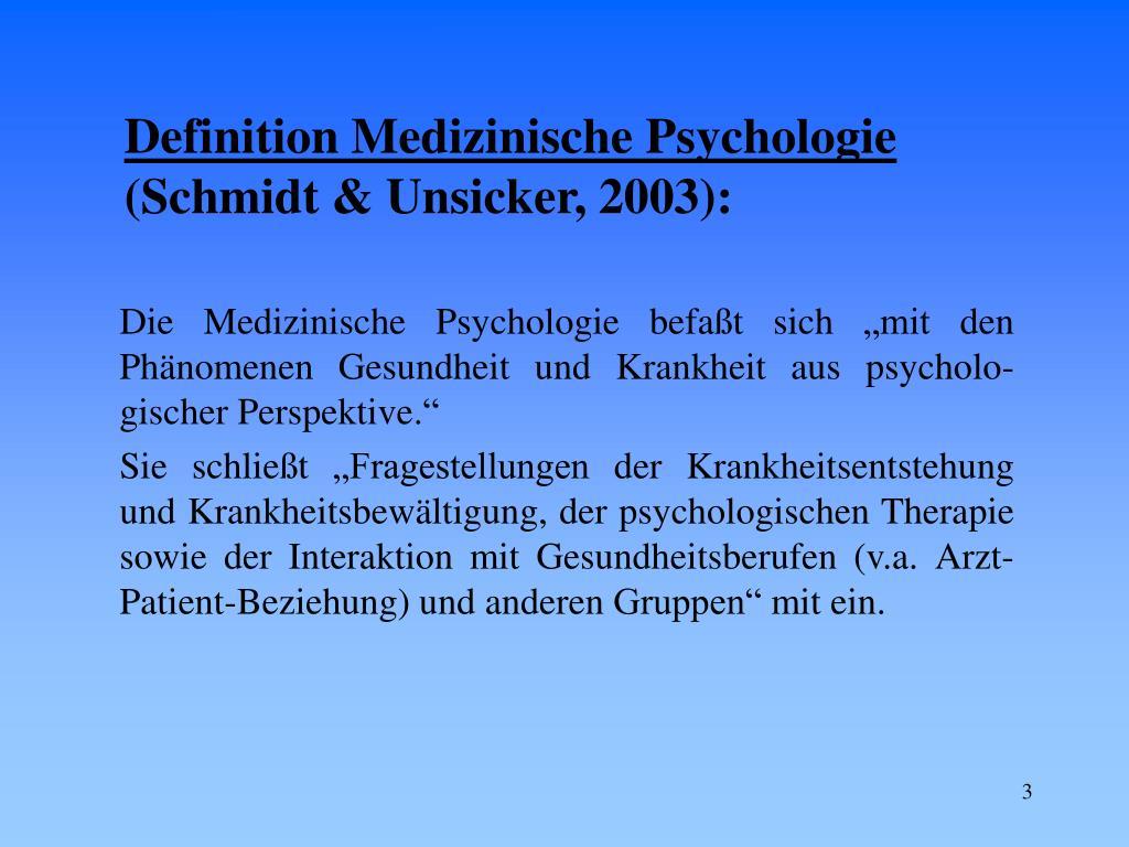 Definition Medizinische Psychologie