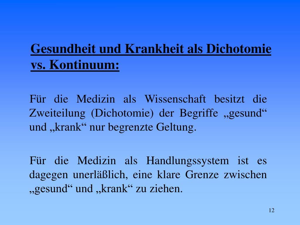Gesundheit und Krankheit als Dichotomie vs. Kontinuum:
