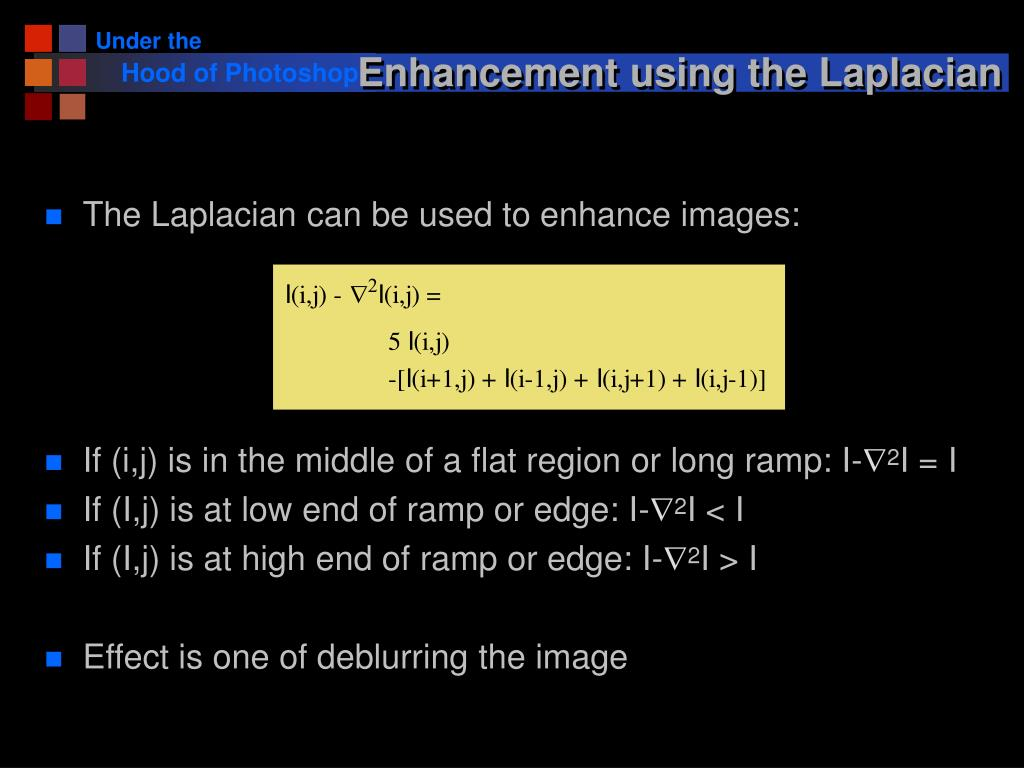 Enhancement using the Laplacian