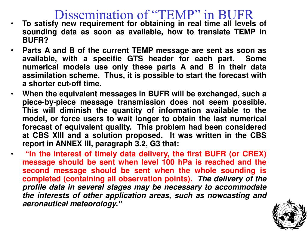 """Dissemination of """"TEMP"""" in BUFR"""