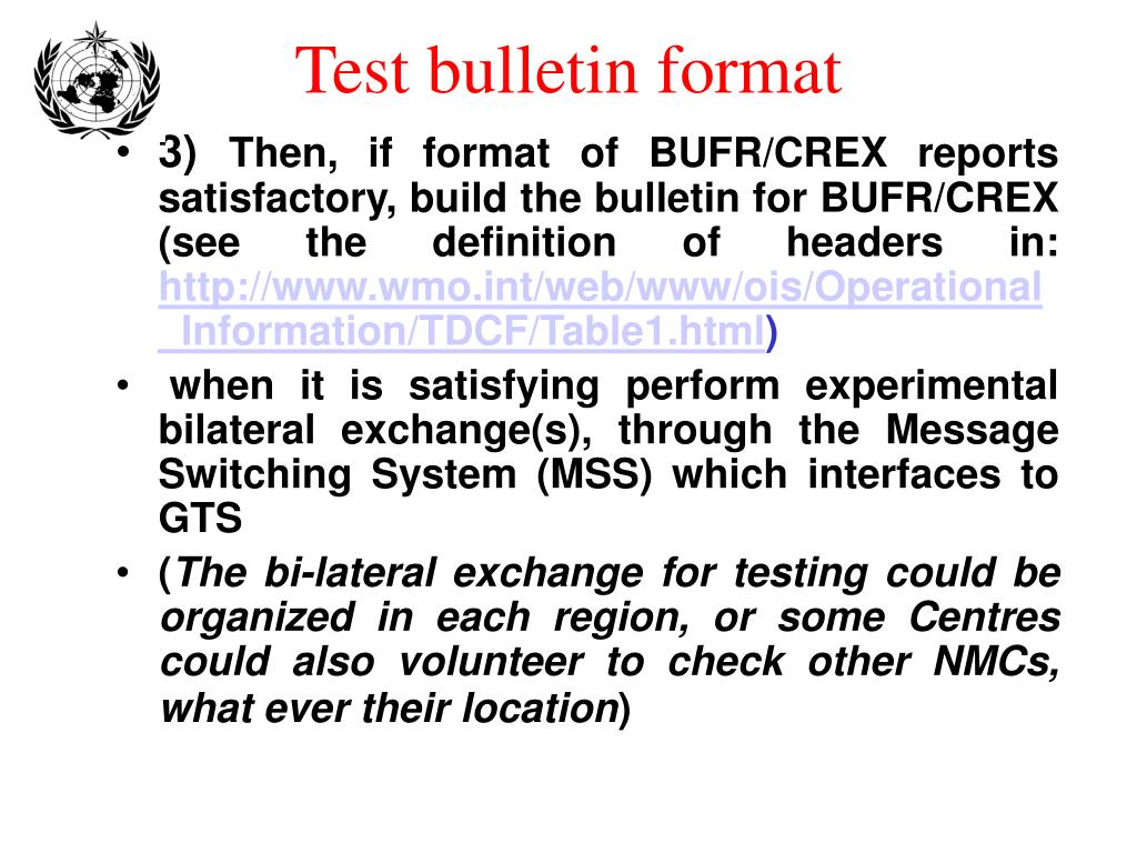 Test bulletin format