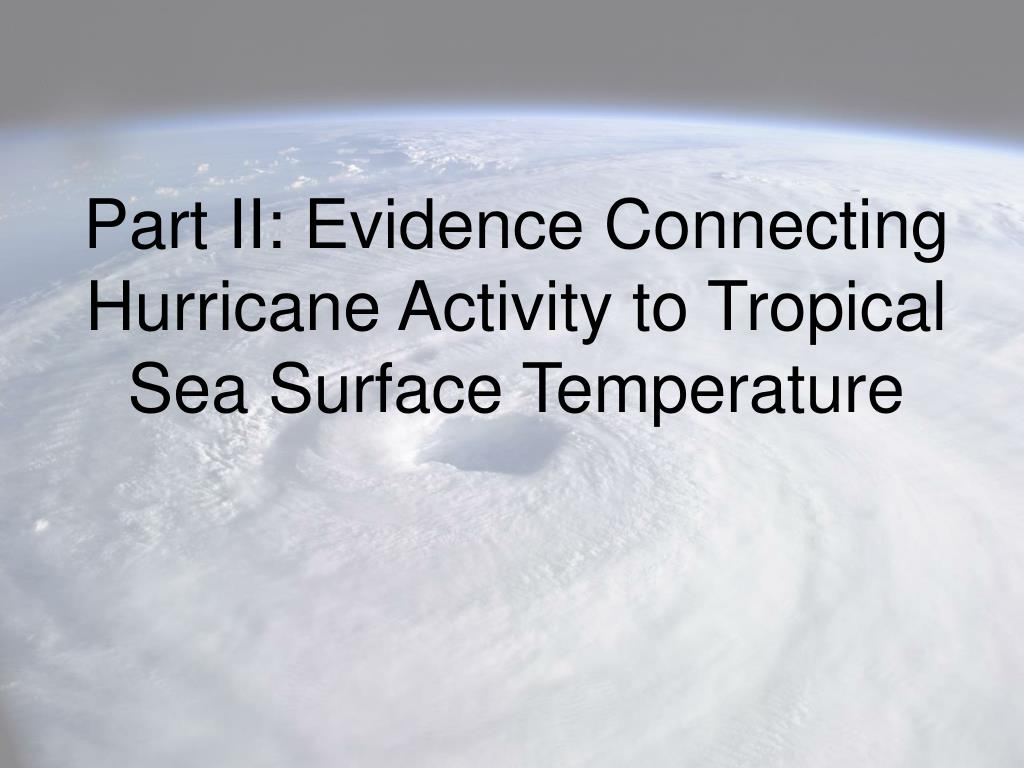 Part II: Evidence Connecting Hurricane Activity to Tropical Sea Surface Temperature
