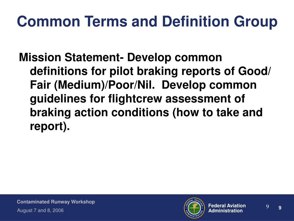 Common Terms and Definition Group