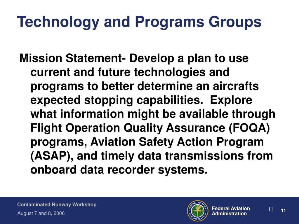 Technology and Programs Groups