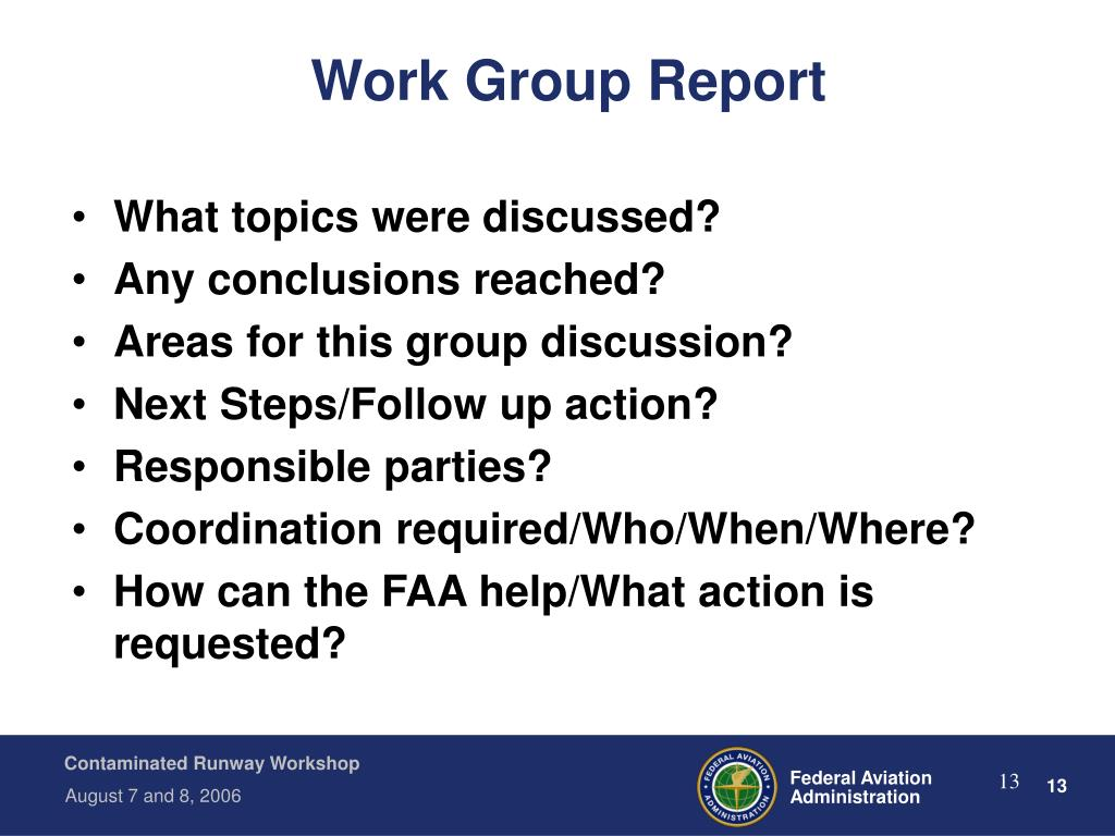 Work Group Report