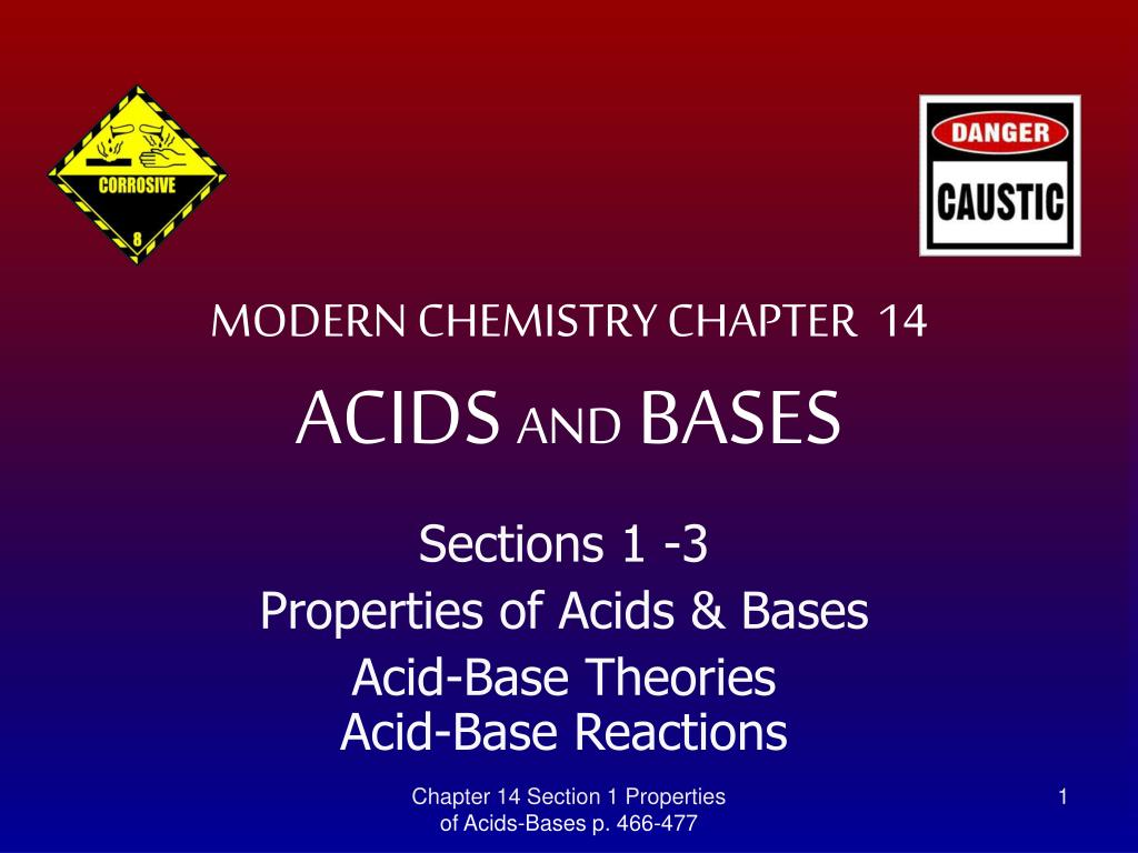 ch 14 outline acid and bases Chapter 14 outline  141 the nature of acid and bases  acid-base theories  arrhenius- acid is a hydrogen producer and a base is a hydroxide producer  bronsted-lowry- acid is a proton donor and a base a proton acceptor  lewis- an acid is an electron pair acceptor, and i base is an electron pair donor  conjugate base & acids.