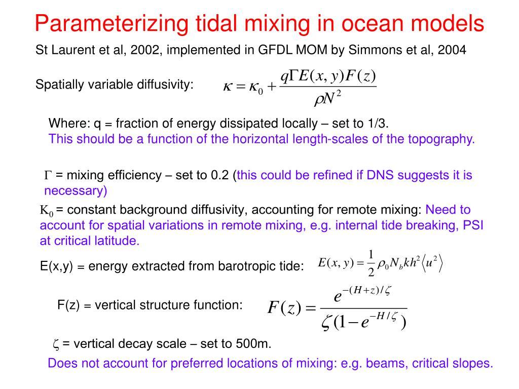 Parameterizing tidal mixing in ocean models