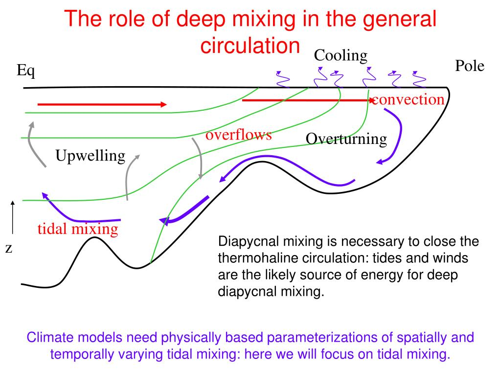 The role of deep mixing in the general circulation