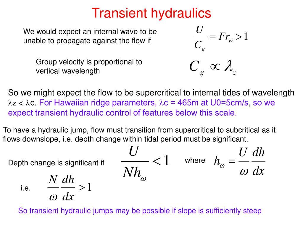 Transient hydraulics