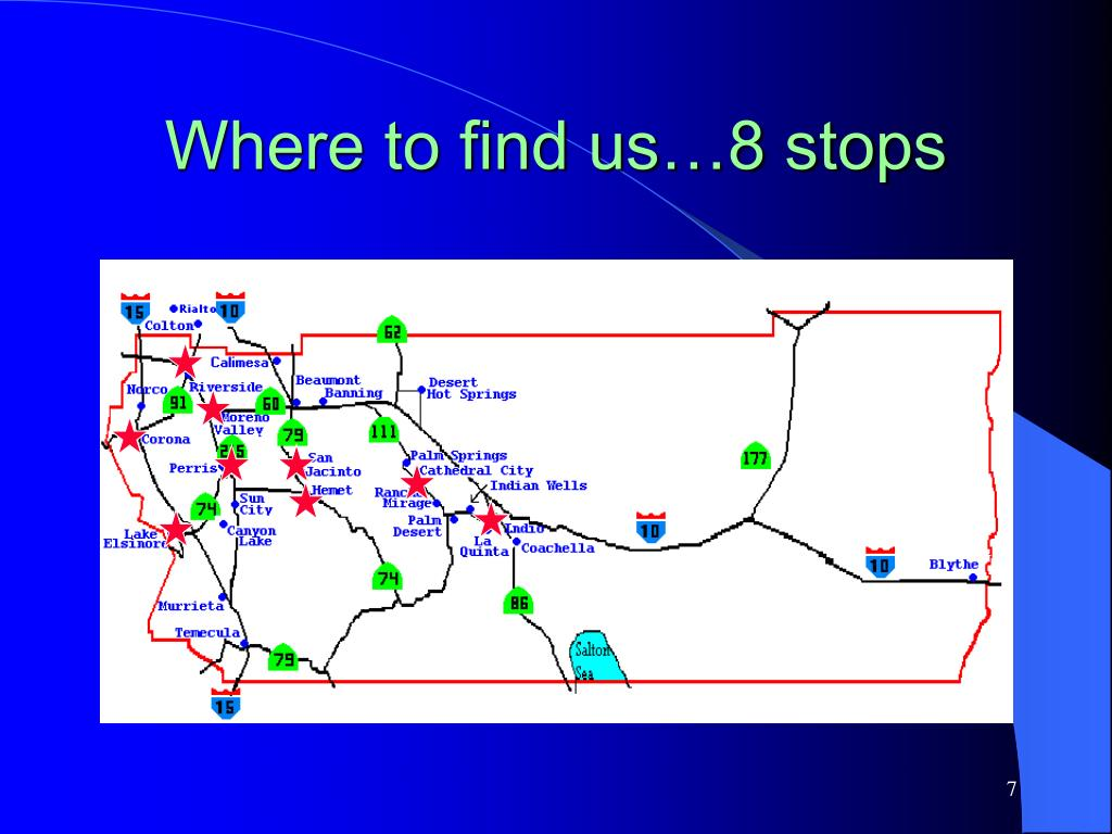 Where to find us…8 stops