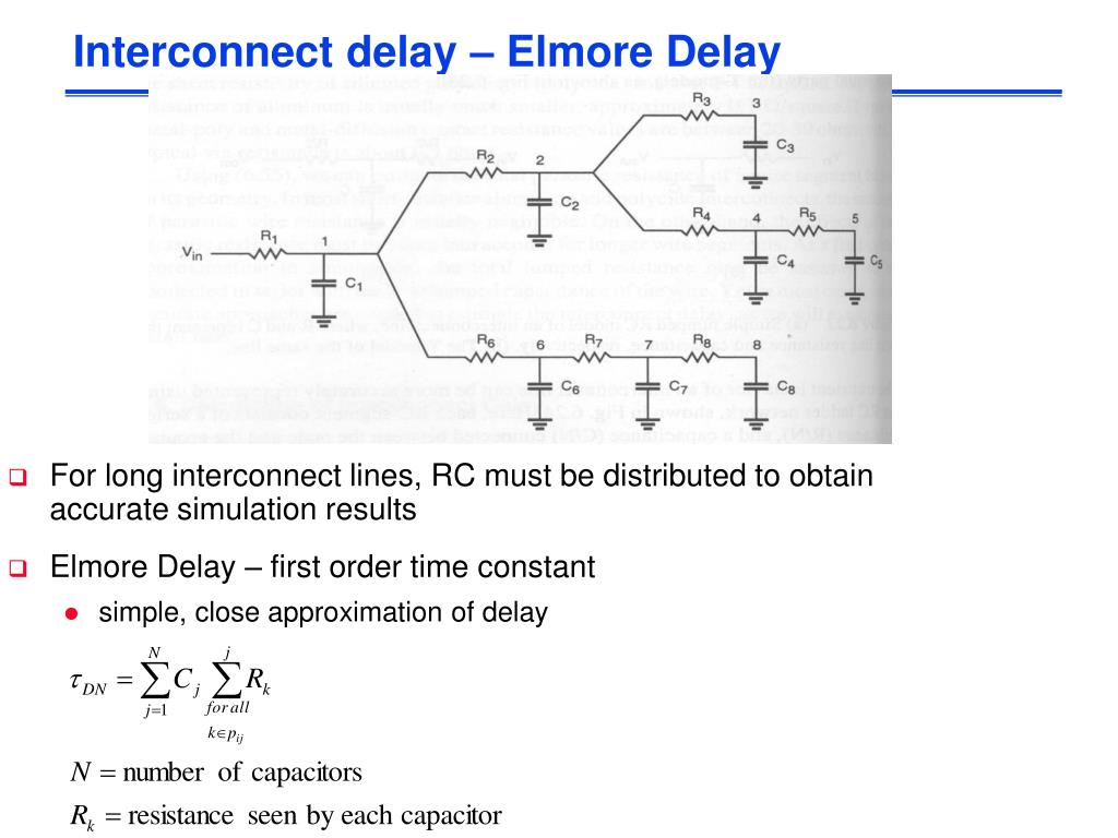 Interconnect delay – Elmore Delay