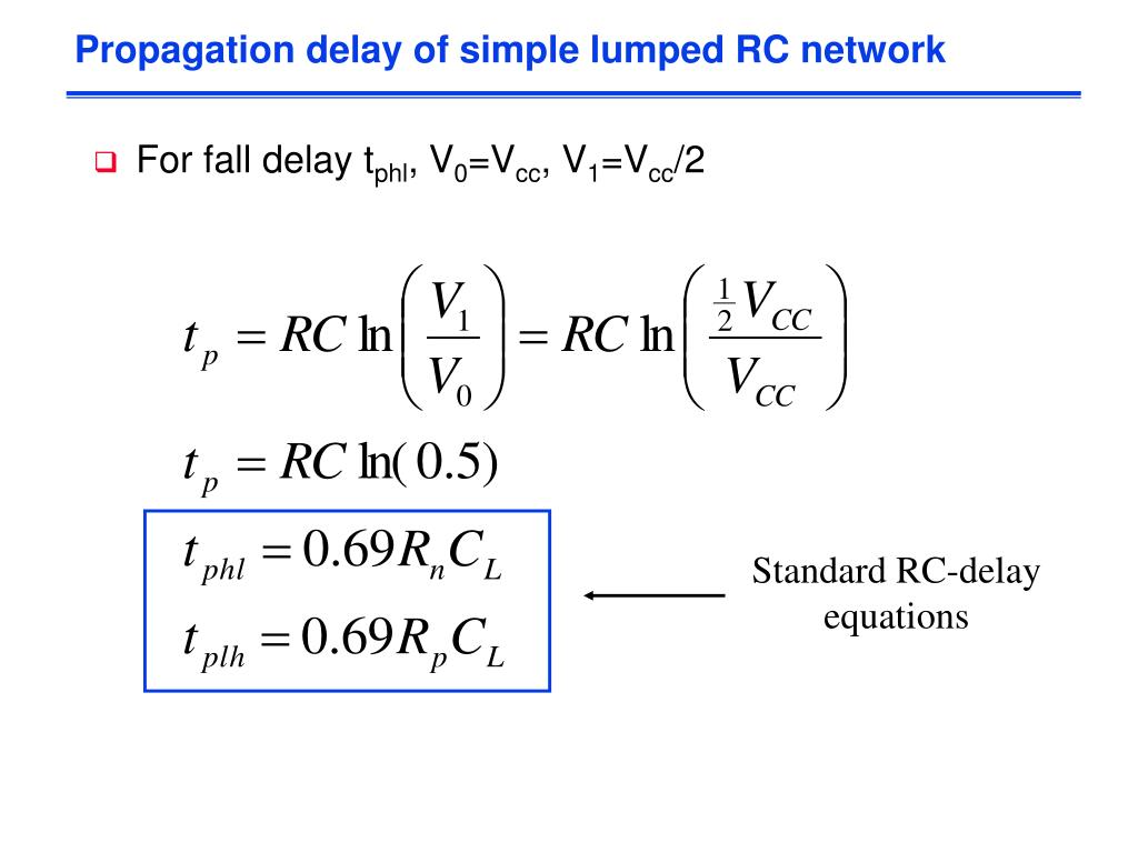 Propagation delay of simple lumped RC network