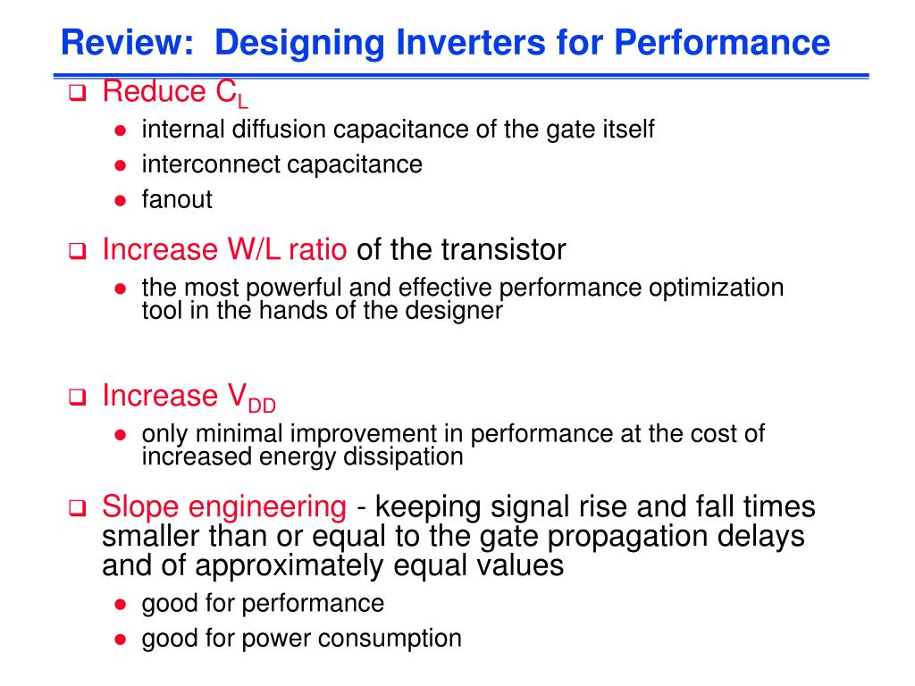 Review:  Designing Inverters for Performance