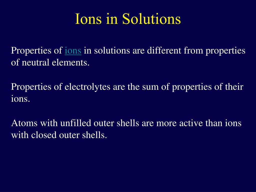 Ions in Solutions