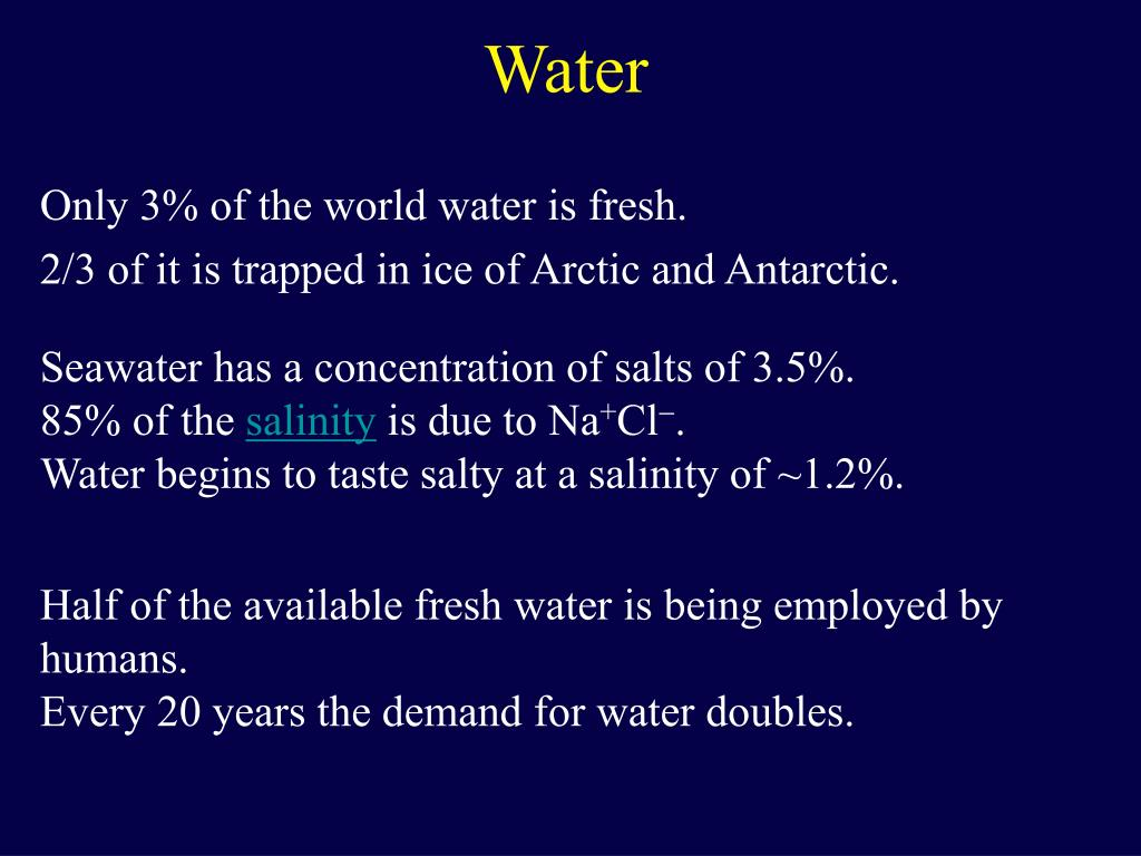Only 3% of the world water is fresh.