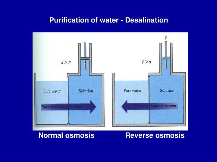 Purification of water - Desalination