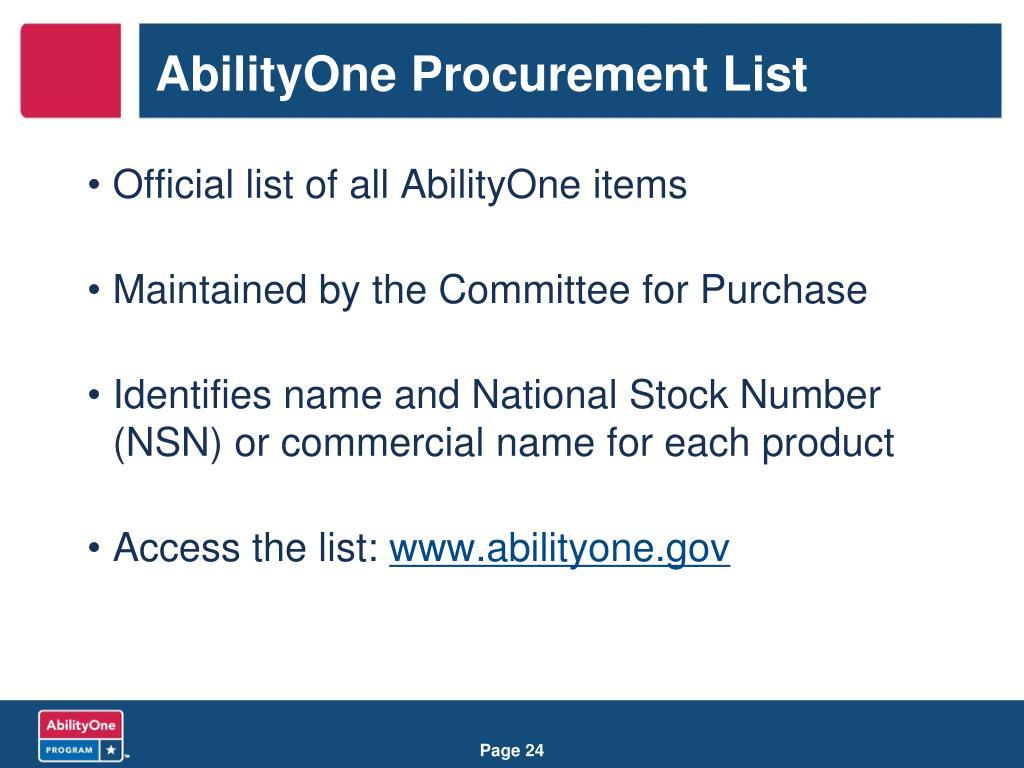 AbilityOne Procurement List