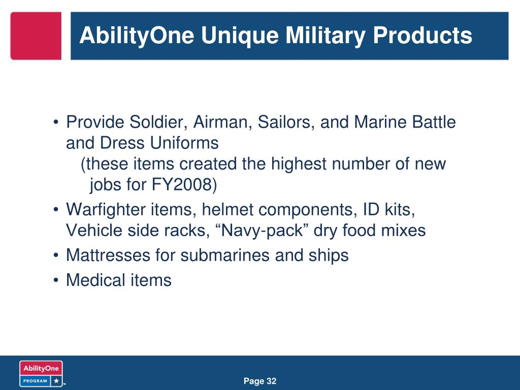 AbilityOne Unique Military Products