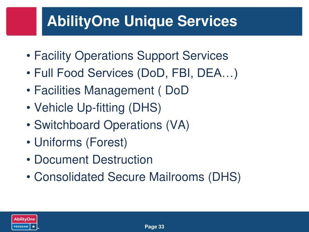 AbilityOne Unique Services
