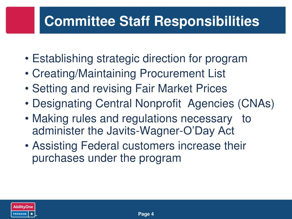 Committee Staff Responsibilities