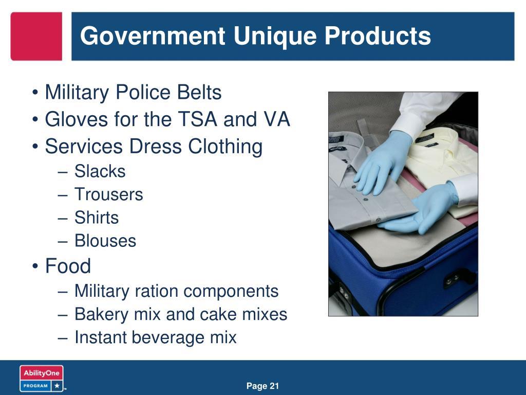 Government Unique Products