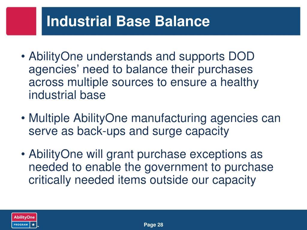 Industrial Base Balance
