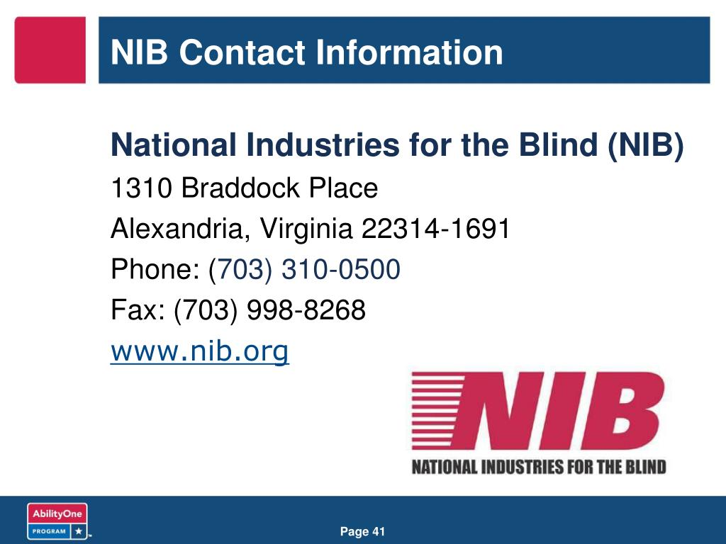 NIB Contact Information