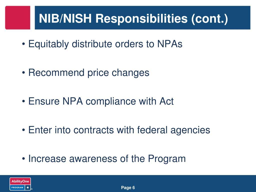 NIB/NISH Responsibilities (cont.)