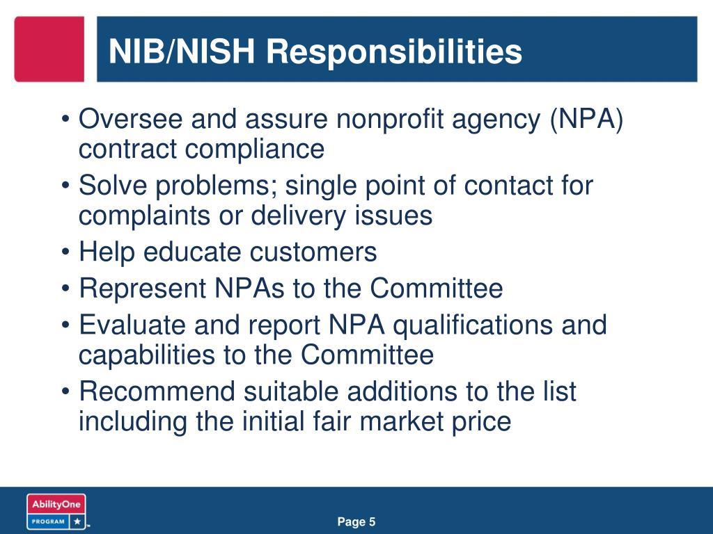 NIB/NISH Responsibilities