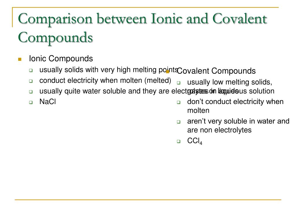 Comparison between Ionic and Covalent Compounds