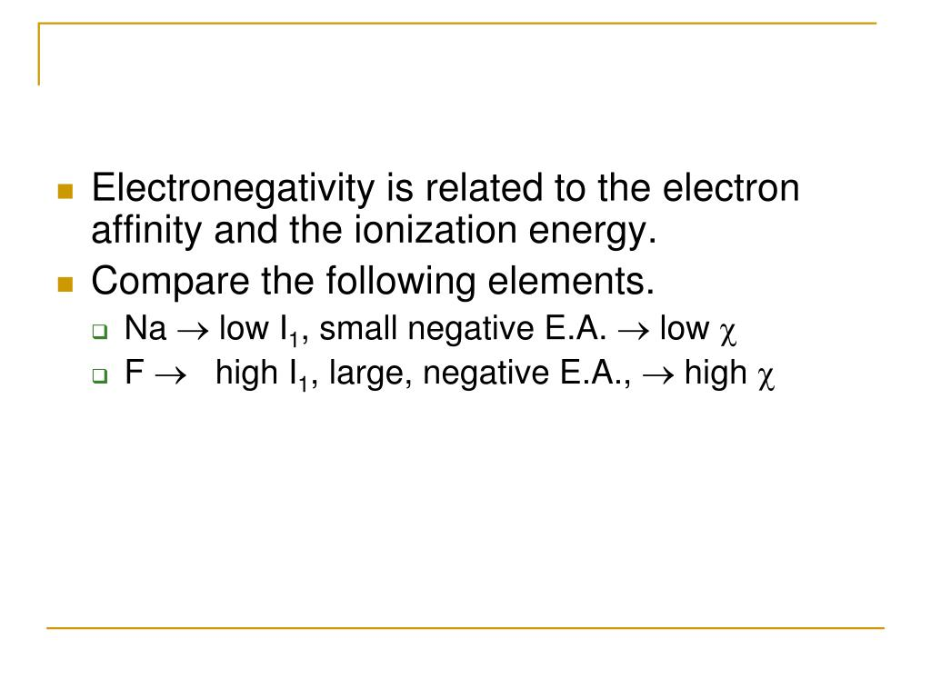 Electronegativity is related to the electron affinity and the ionization energy.