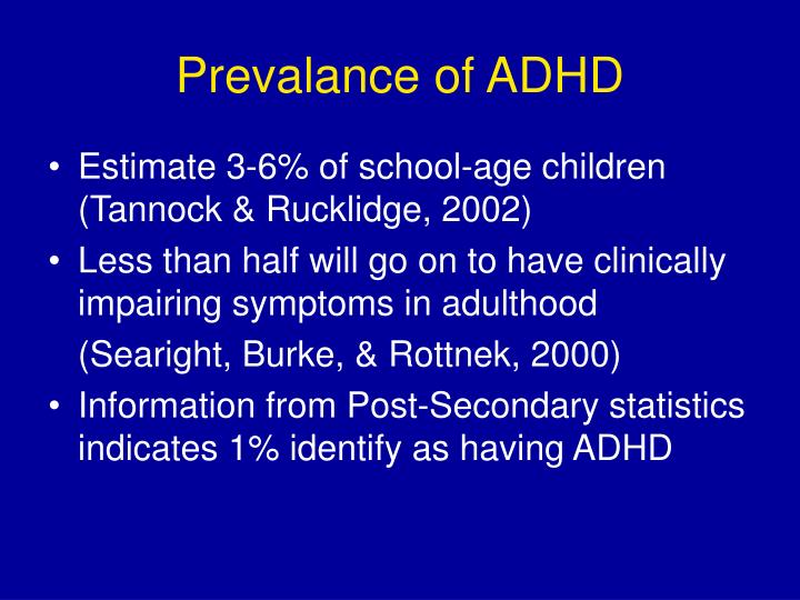 Prevalance of adhd