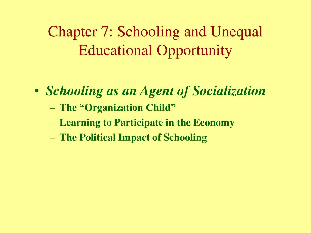 Schooling as an Agent of Socialization