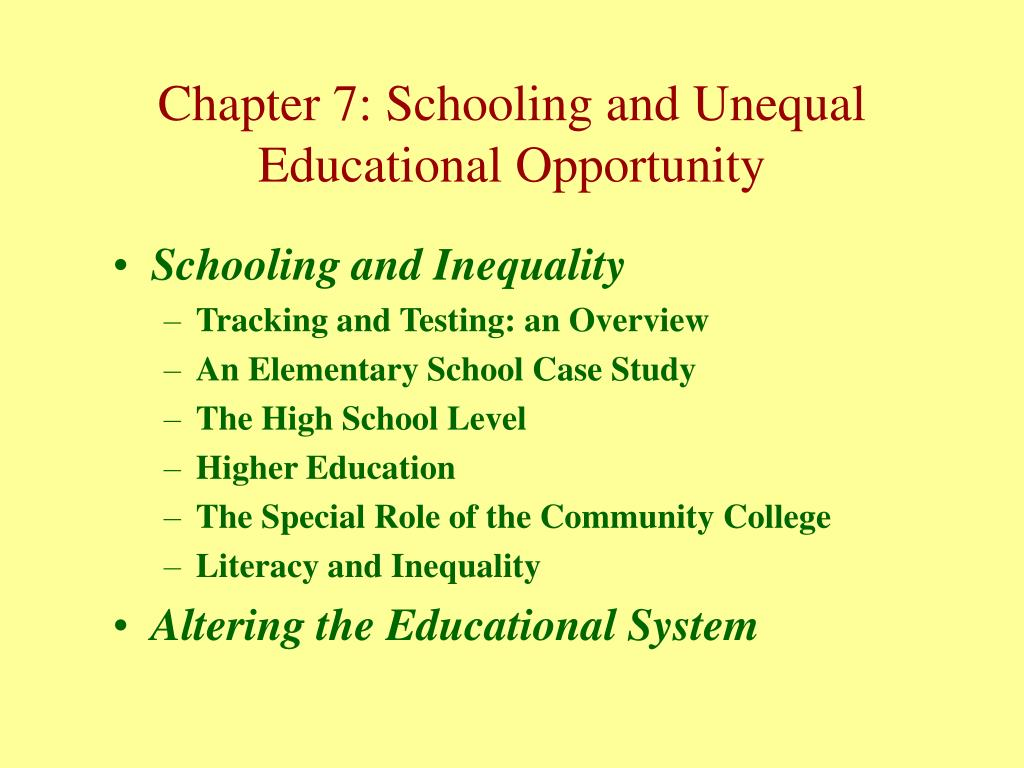 Schooling and Inequality
