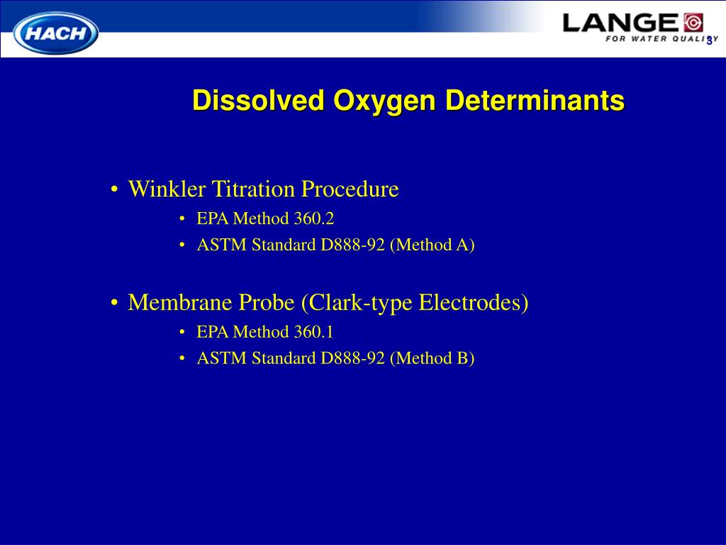 Dissolved Oxygen Determinants