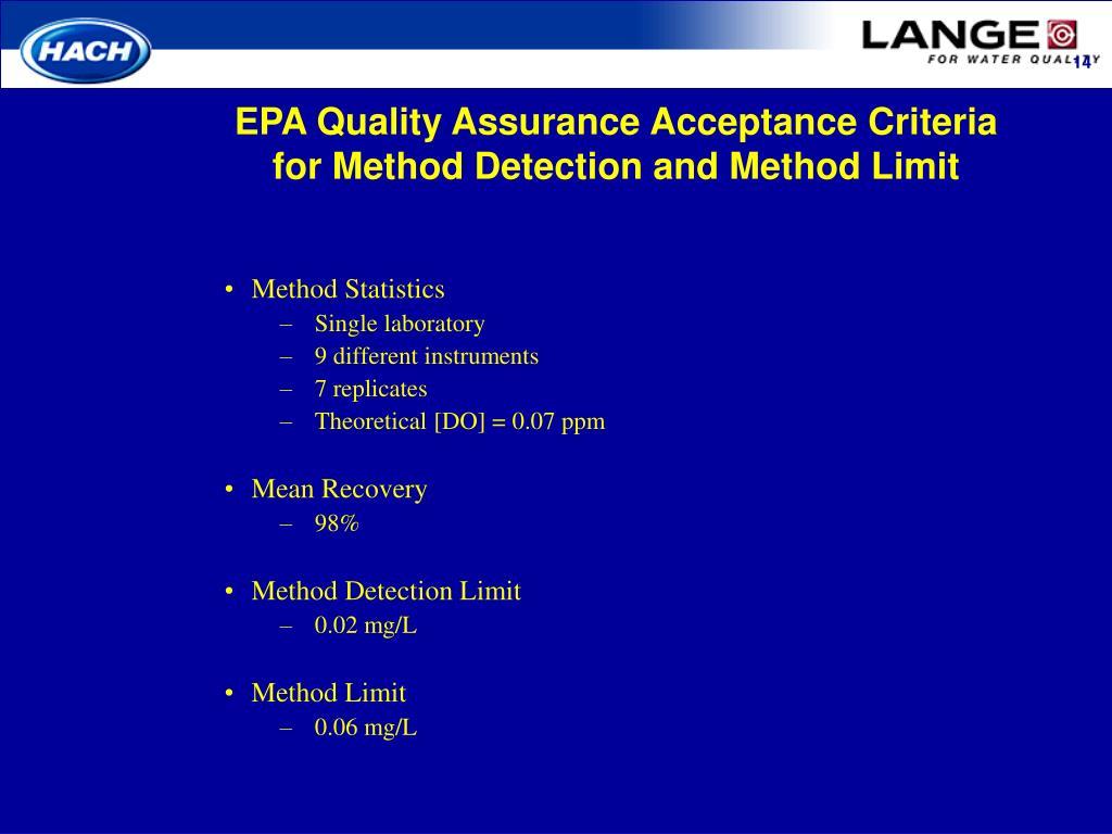 EPA Quality Assurance Acceptance Criteria