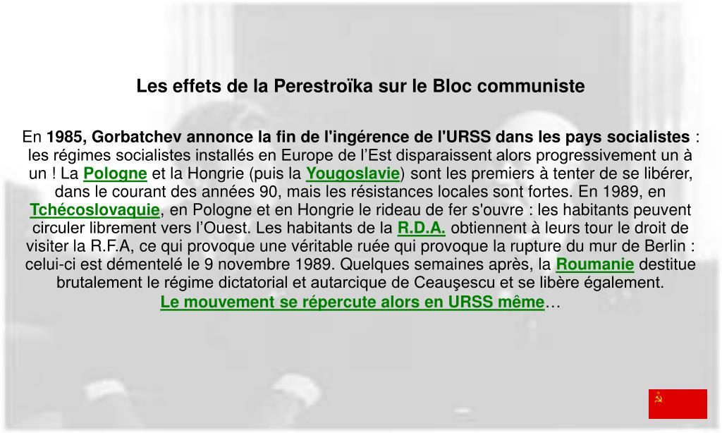 Les effets de la Perestroïka sur le Bloc communiste
