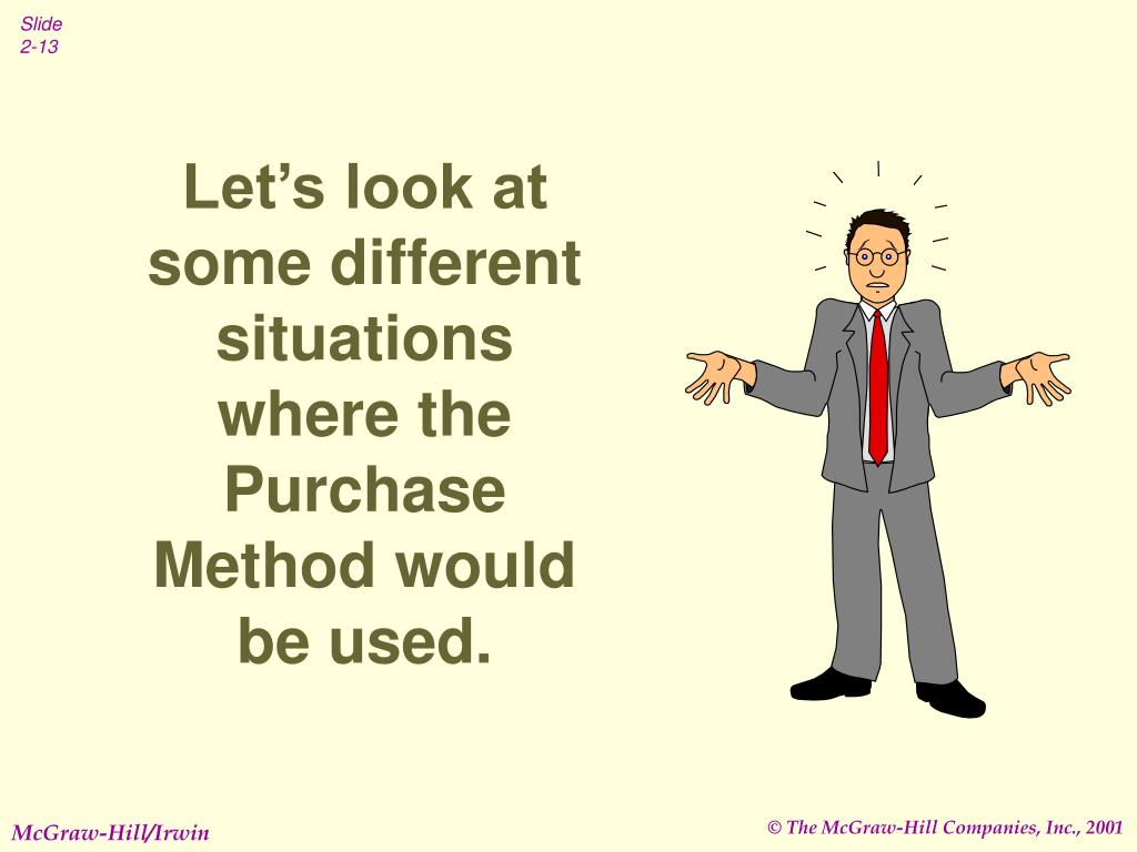 Let's look at some different situations where the Purchase Method would be used.