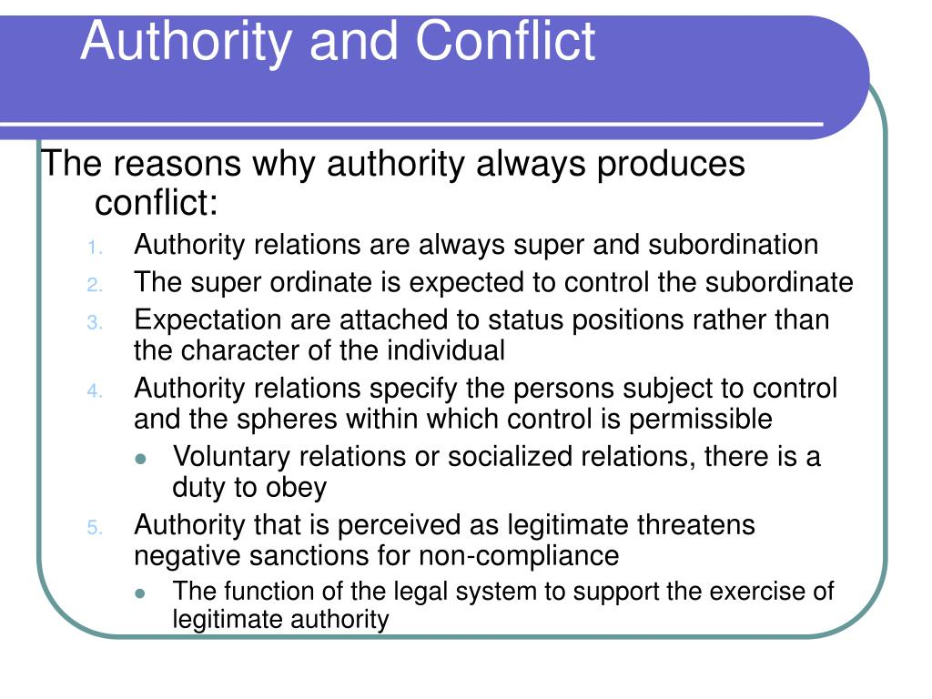 Authority and Conflict