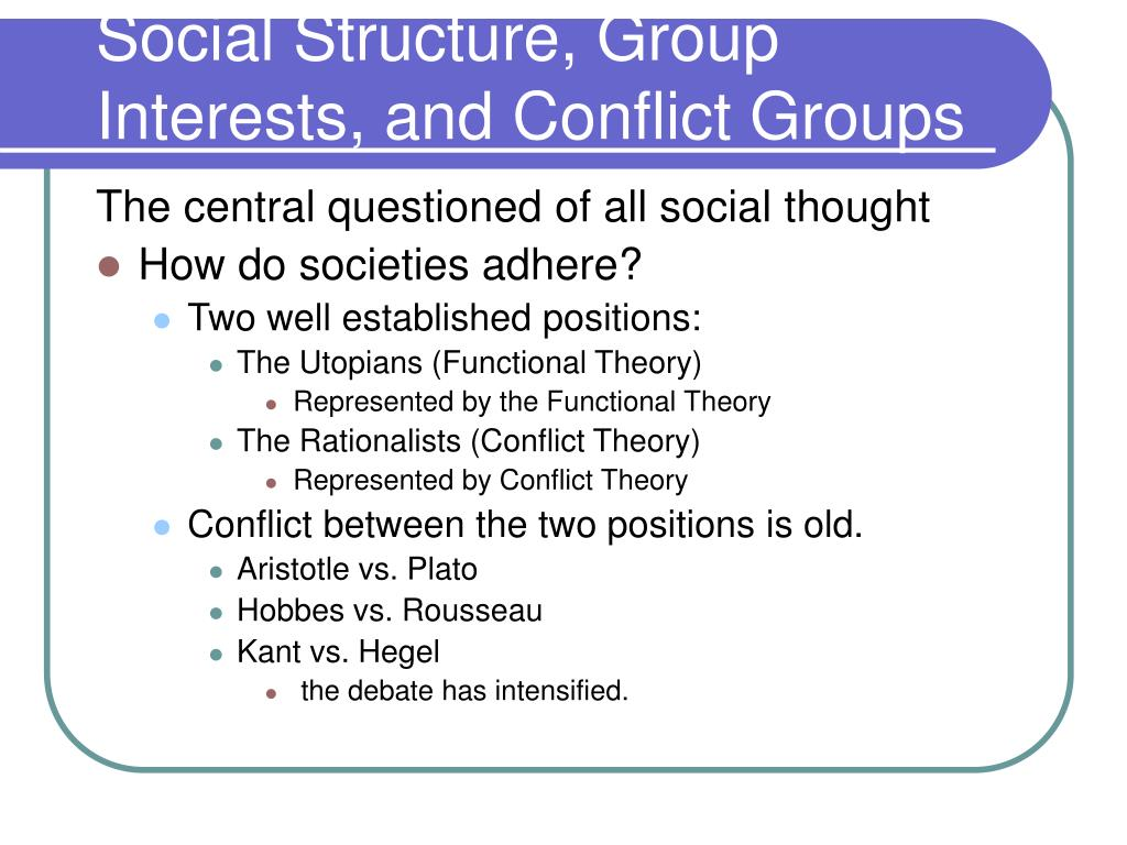 Social Structure, Group Interests, and Conflict Groups