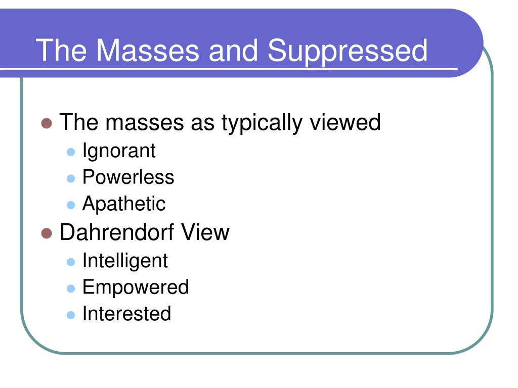 The Masses and Suppressed