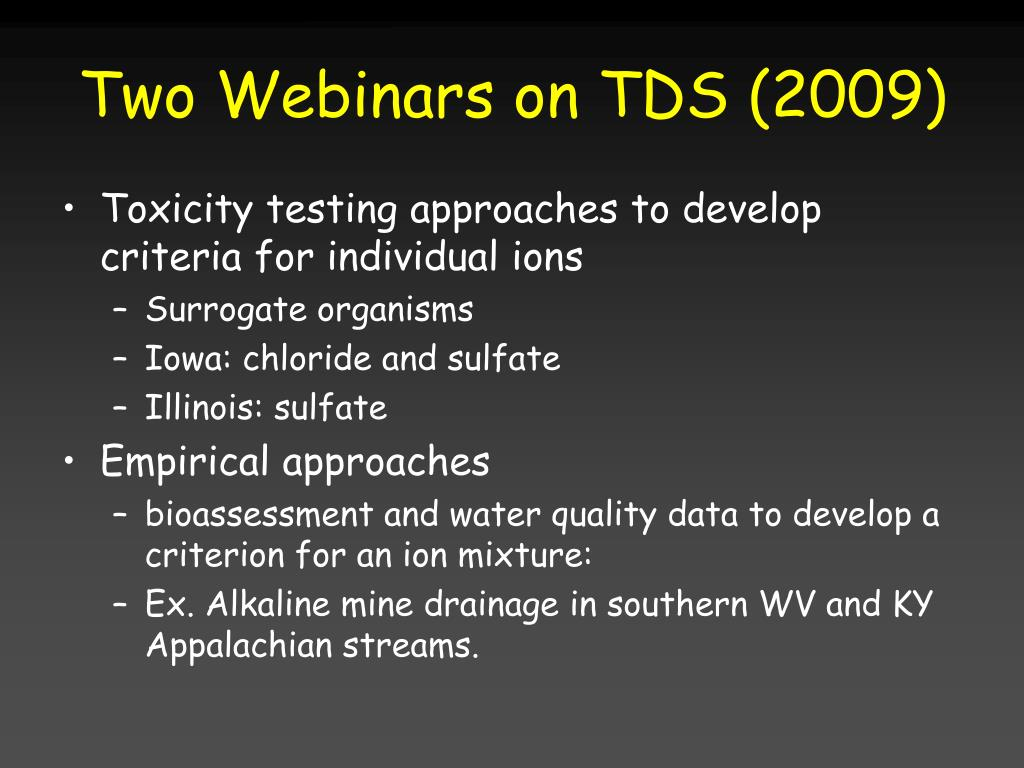 Two Webinars on TDS (2009)
