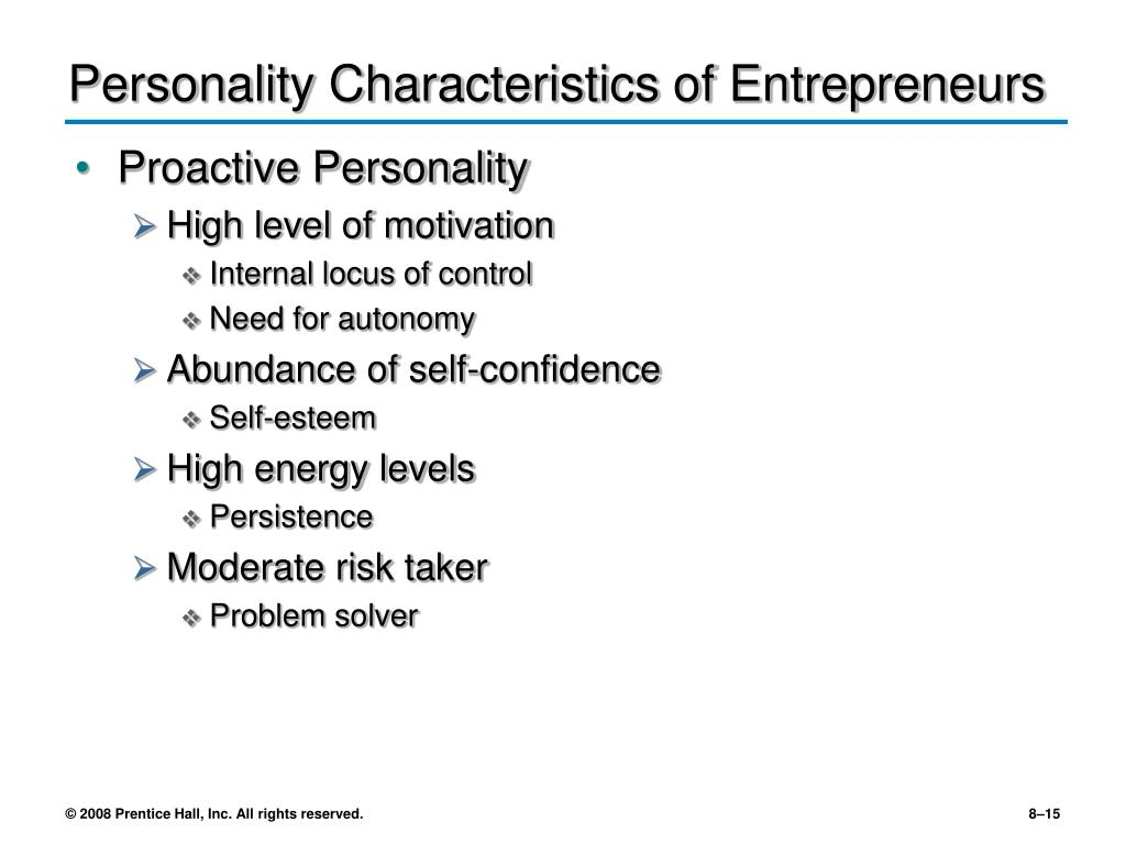 Personality Characteristics of Entrepreneurs